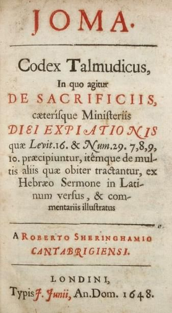 TALMUD - Joma. Codex talmudicus in quo agitur de Sacrificiis. Caeterisque Ministeriis...