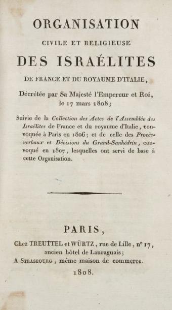 [TAMA Diogène] Organisation civile et religieuse des Israélites de France et du royaume...