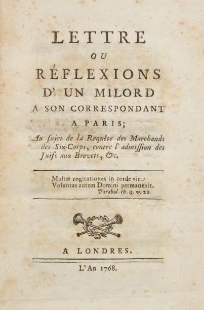 [VALABREGUE Israël - Bernard de] Lettre ou Réflexions d'un milord à son correspondant...