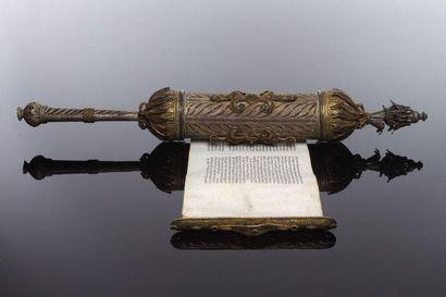 ROULEAU D'ESTHER DANS SON ÉTUI EN FILIGRANE DE VERMEIL - Rouleau manuscrit sur parchemin,...
