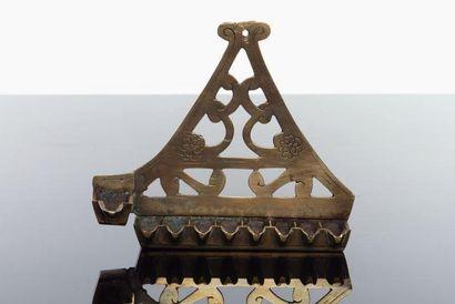 LAMPE DE HANOUCCA - Bronze ajouré et gravé....