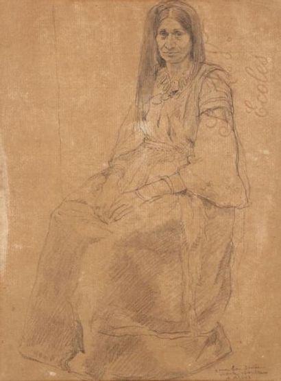 ASSUS Armand (1892-1977) Juive d'Alger en costume traditionnel Dessin au crayon sur...
