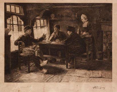 [BENOIT-LEVY Jules, (1866 - 1952) d'après] Intérieur hollandais Eau-forte. Signée...