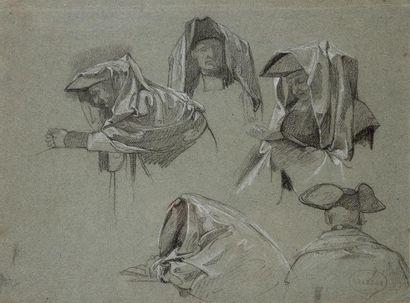 BRANDON Edouard (1831-1897) Cinq études d'homme en buste, portant un tricorne et...