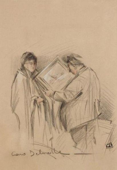CARO - DELVAILLE Henry (1876-1928) Le marchand de tableaux Dessin sur papier. Signé...