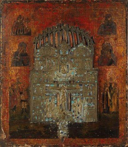 Icône de la Crucifixion entourée de prophètes...