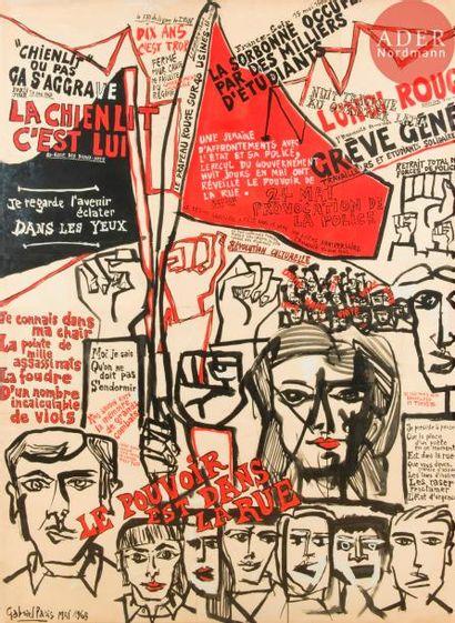 [œuvre originale MAI 68] Gabriel PARIS (1924-2000)...