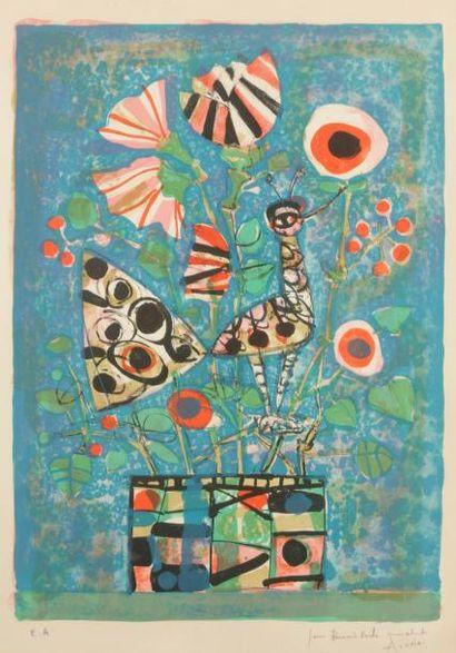 Paul AIZPIRI (1919-2016) Oiseau et vase de...
