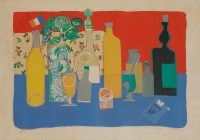 Roger BEZOMBES (1913-1994) Nature morte Lithographie....