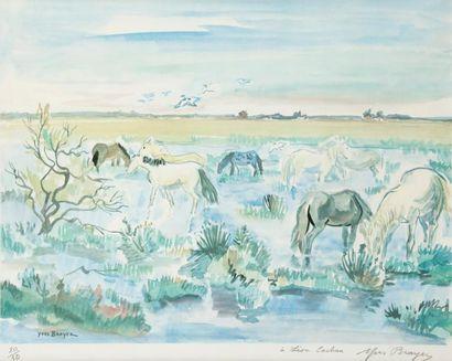 Yves BRAYER (1907-1990) Chevaux en Camargue...