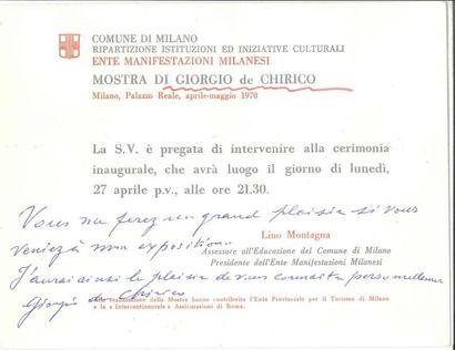 Giorgio de CHIRICO (1888-1978) PAS, [avril...