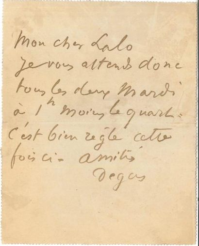 Edgar DEGAS (1834-1917) LAS, [Paris 14 septembre...