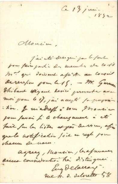 Eugène DELACROIX LAS, 13 juin 1852; 1 page...