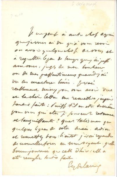 Eugène DELACROIX LAS, à une dame [son amie...