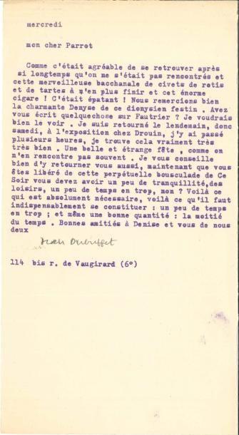 Jean DUBUFFET (1901-1985) LS, Paris mercredi...