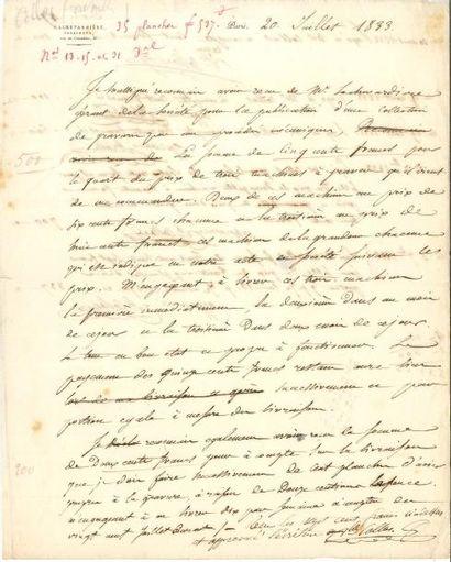 gravure 3 lettres ou pièces Louis Capitaine,...