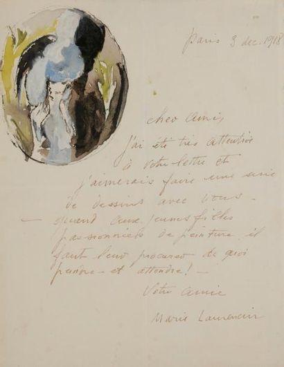 Marie LAURENCIN (1883-1956) LAS avec dessin,...