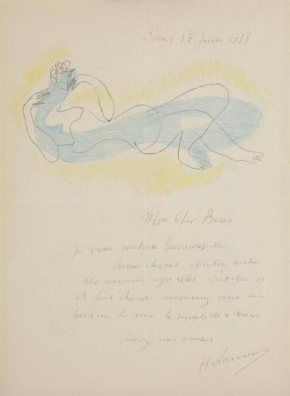 Henri LAURENS (1885-1954) LAS avec dessin,...