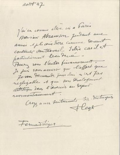 Fernand LÉGER (1881-1955) LAS, août 1947;...