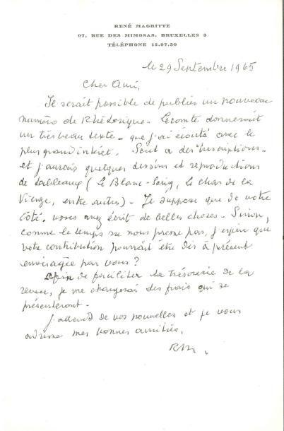René MAGRITTE (1898-1967) LAS «RM», Bruxelles...