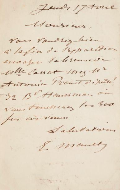 Édouard MANET LAS, Jeudi 17 avril [1879];...