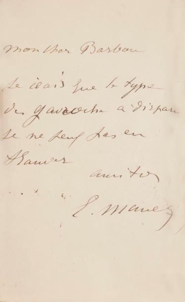 Édouard MANET LAS, à son cher Barbou; demi-page...