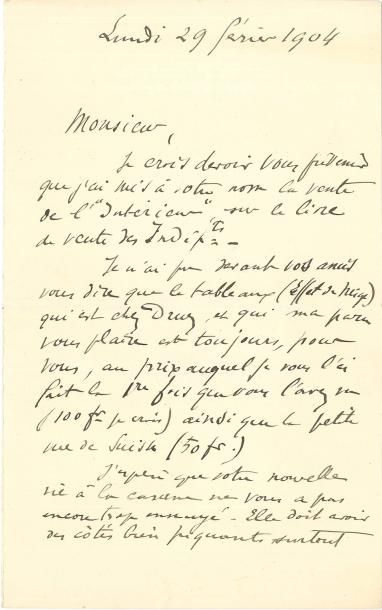 Henri MATISSE (1869-1954) LAS, 29 février...