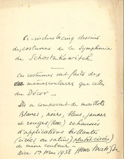 Henri MATISSE PAS, Nice 1er mai 1938; 1...