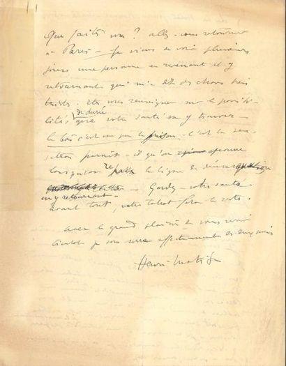 Henri MATISSE LAS, Lyon 13 avril 1941, [à...