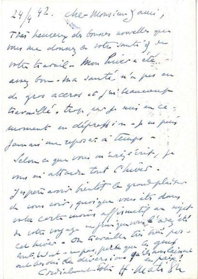 Henri MATISSE LAS, Nice 24 avril 1942, à...