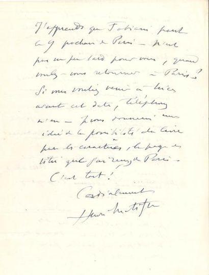 Henri MATISSE LAS, [Nice fin 1943], à un...