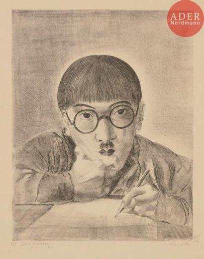 Léonard-Tsuguharu Foujita (1886-1968) Autoportrait dessinant. 1925. Lithographie....