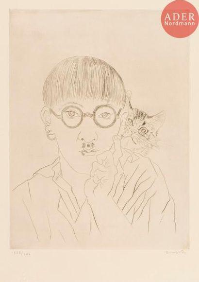 Léonard-Tsuguharu Foujita (1886-1968) Autoportrait, le chat sur l'épaule. 1927....