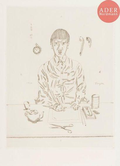 Léonard-Tsuguharu Foujita (1886-1968) Autoportrait. 1923. Eau-forte. 317x415....
