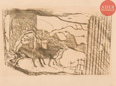 Paul Gauguin (1848-1903) Le Calvaire breton. 1898-1899. Bois gravé. 262x162. Mongan,...