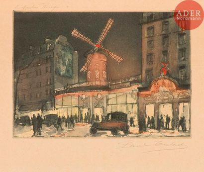 Gen-Paul (Eugène Paul, dit) (1895-1975) Le Moulin Rouge. Vers 1918. Eau-forte et...