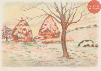 Armand Guillaumin (1841-1927) Paysage aux meules, ou Les Meules en hiver à Palaiseau....