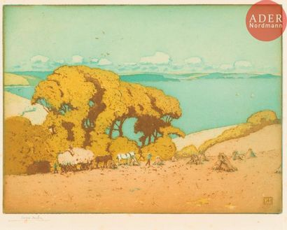Alfred Hartley (1855-1933) Les Moissons....