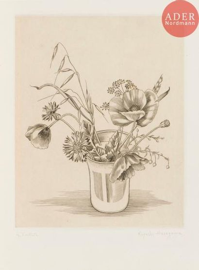 Kiyoshi Hasegawa (1891-1980) Fleurs des champs...
