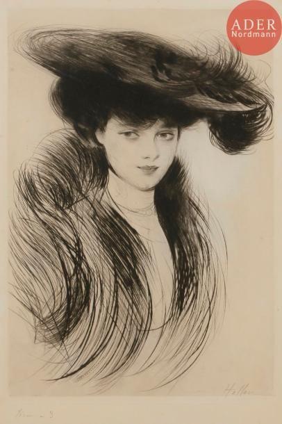 Paul-César Helleu (1859-1927) Femme en chapeau....
