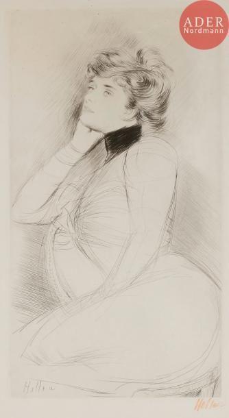 Paul-César Helleu (1859-1927) Femme au fauteuil,...