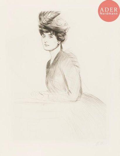Paul-César Helleu (1859-1927) Femme accoudée...