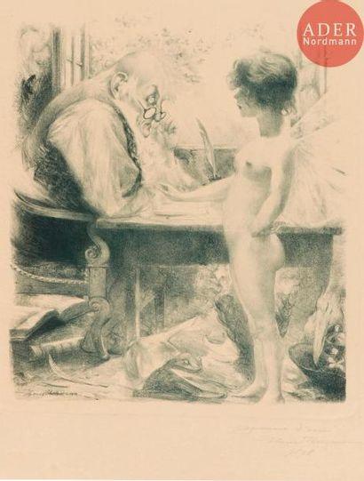 Henri Hermann (actif fin XIXe s.) L'Amour et le vieil homme. 1898. Lithographie....