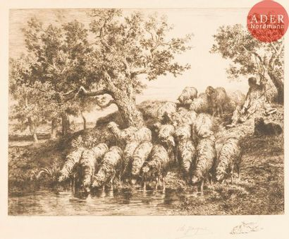 Charles Jacque (1813-1894) Abreuvoir aux...