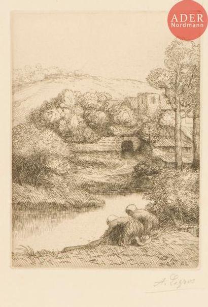 Alphonse Legros (1837-1911) Le Lavoir ou...