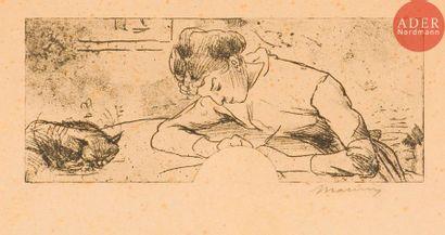 Charles Maurin (1856-1914) Femme écrivant...
