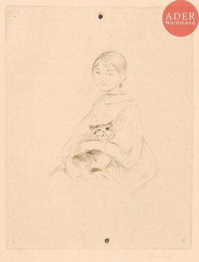 Berthe Morisot (1841-1895) Fillette au chat...