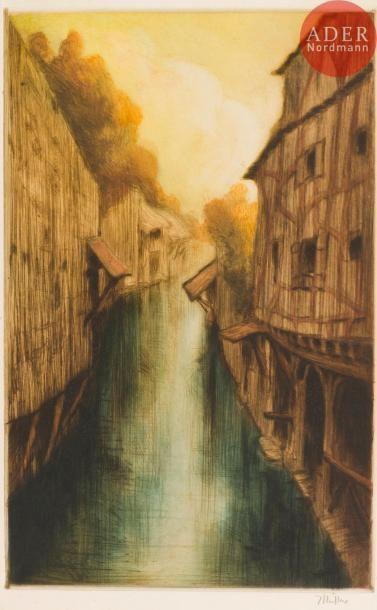 Alfredo Müller (1869-1940) La Viosne à Pontoise....