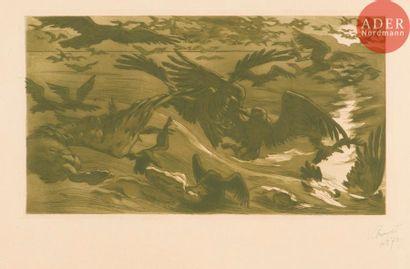 Victor Prouvé (1858-1943) Oiseaux de proie...