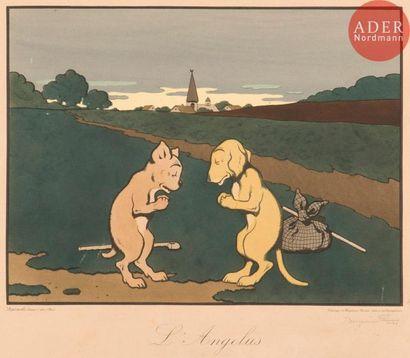 Benjamin Rabier (1864-1939) L'Angélus (pastiche...